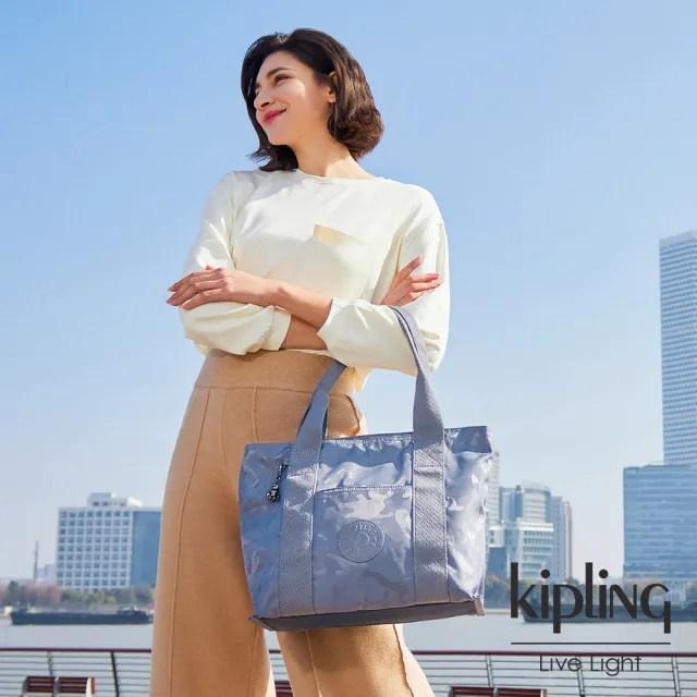 【KIPLING】光澤霧灰紫迷彩手提包-ERA S