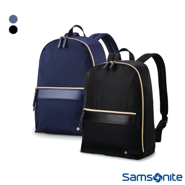 【Samsonite 新秀麗】MOBILE SOLUTION百搭耐用防潑水筆電後背包14(海軍藍&黑)