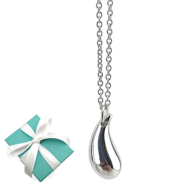 【Tiffany&Co. 蒂芙尼】實心淚滴925純銀墜飾項鍊