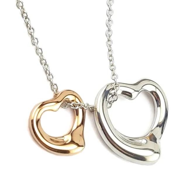 【Tiffany&Co. 蒂芙尼】TIFFANY 18K金+純銀雙Open Heart墜飾項鍊