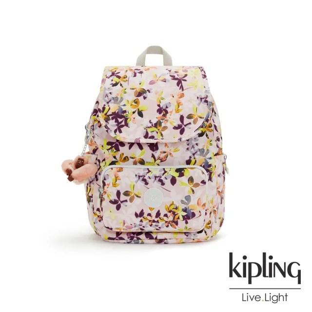 【KIPLING】飄零落花粉掀蓋式拉鍊後背包-CAYENNE S