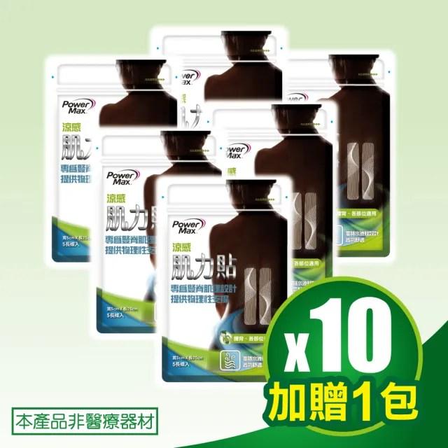 【POWERMAX 給力貼】腰背涼感肌力貼10包超值組[加贈1包](腰背/貼布/清涼涼感/不含藥/痠痛酸痛貼布/肌貼)