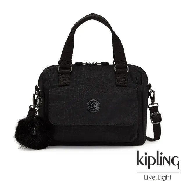 【KIPLING】時髦黑佐鱷魚紋翻蓋手提側背包-ZEVA