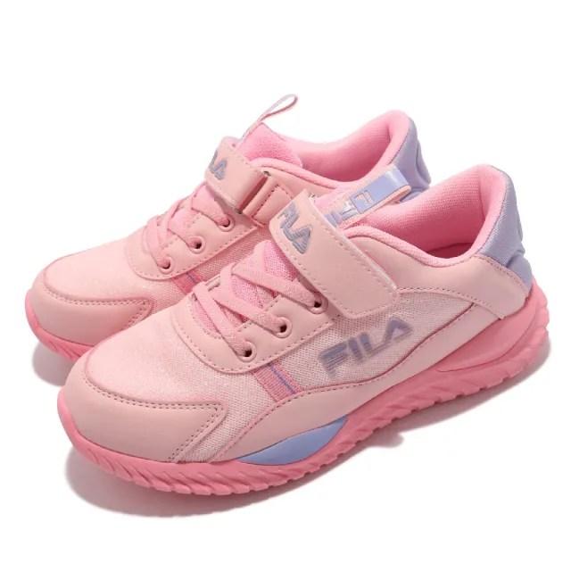 【FILA】休閒鞋 J809V 基本款 童鞋 女鞋 斐樂 魔鬼氈 經典款 運動 百搭 中大童 粉 紫(3J809V599)