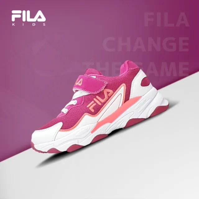 【好童鞋】特價 FILA 童鞋 白紫桃3-J805U-125 兒童類大老爹運動鞋(贈FILA購物袋一只加襪子一雙)