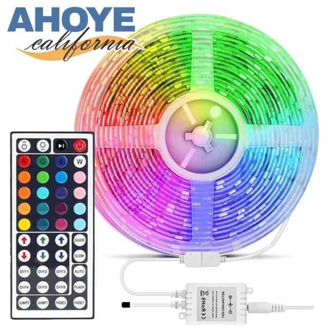 【AHOYE】RGB遙控調色LED燈條 5米  44鍵-300燈 小夜燈