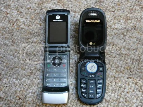 Tracfone W370 on the left and LG 225 Camera phone on the right.