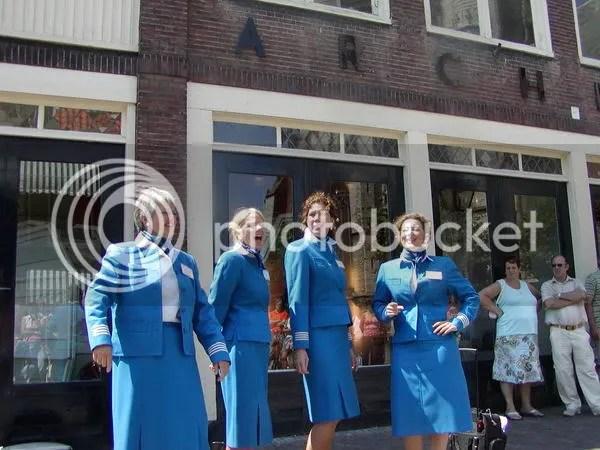 The Barbarella's in air hostess uniforms