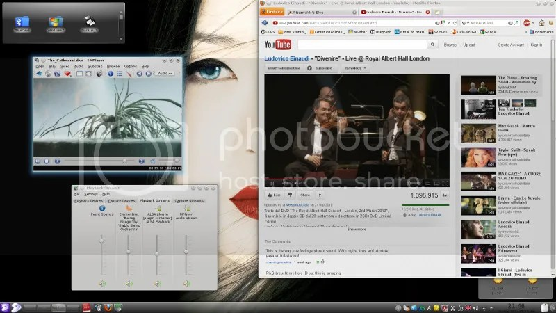 SMPlayer multimedia player, and YouTube in Firefox