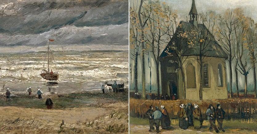 """I  quadri ritrovati :""""La spiaggia di Scheveningen""""  -  """"Una congregazione lascia la chiesa riformata di Nuenen"""""""
