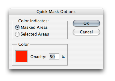 The Quick Mask Options dialog