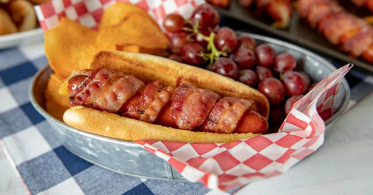 bacon wrapped cheese hot dogs barbara
