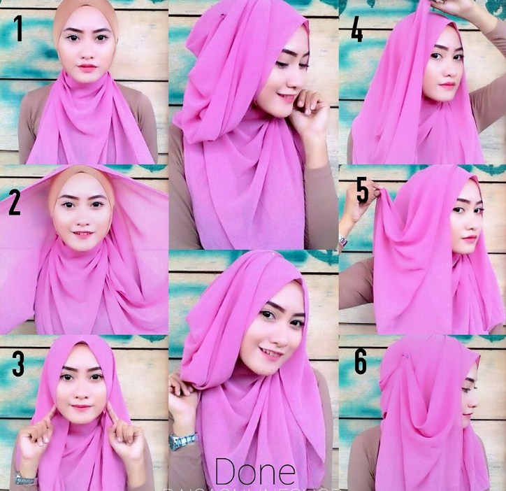 Model Jilbab Segi Empat Simple
