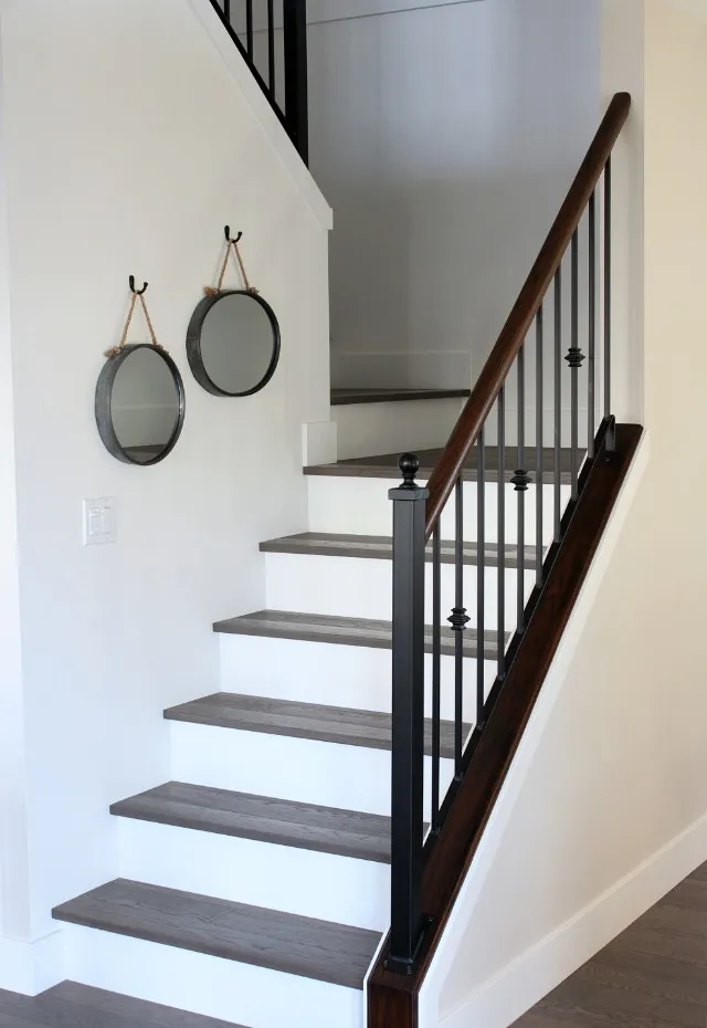 From Carpet To Hardwood Staircase Makeover Satori Design For Living | Wood Stairs With Wood Risers | Painting | Solid Oak Stair Treads Finished | Distressed | Before And After | Wooden
