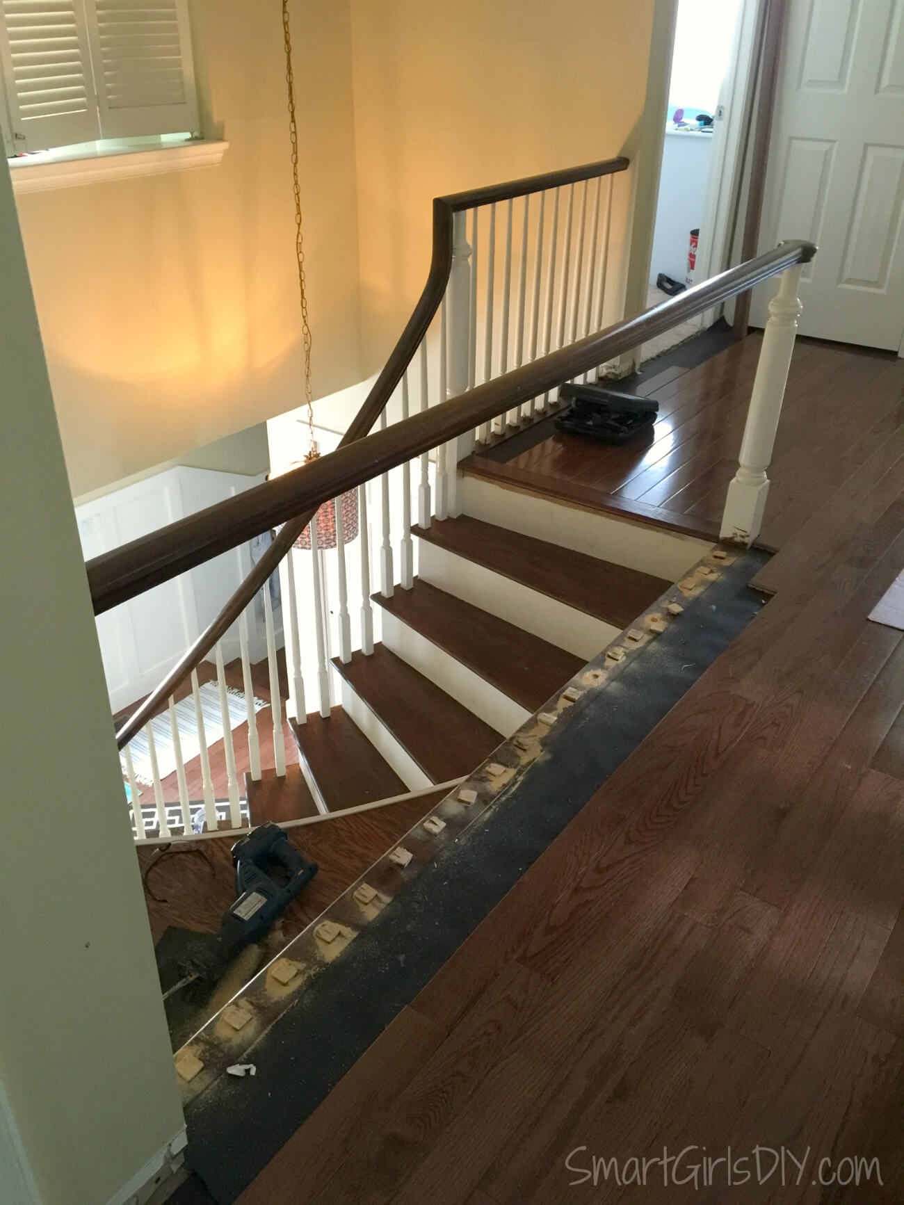 Upstairs Hallway 2 Hardwood Spindles | Laying Hardwood On Stairs | Cost | Nosing | Combined Wood | Oak | Wood Stair