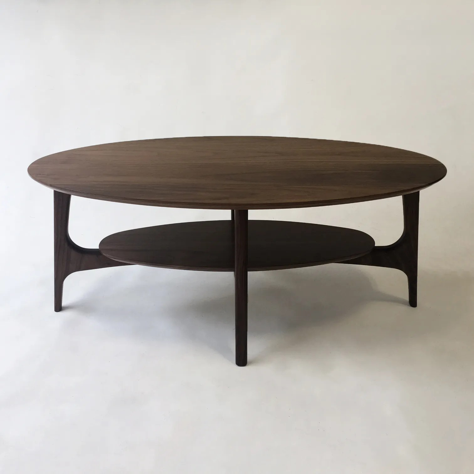 walnut mid century modern coffee table with shelf