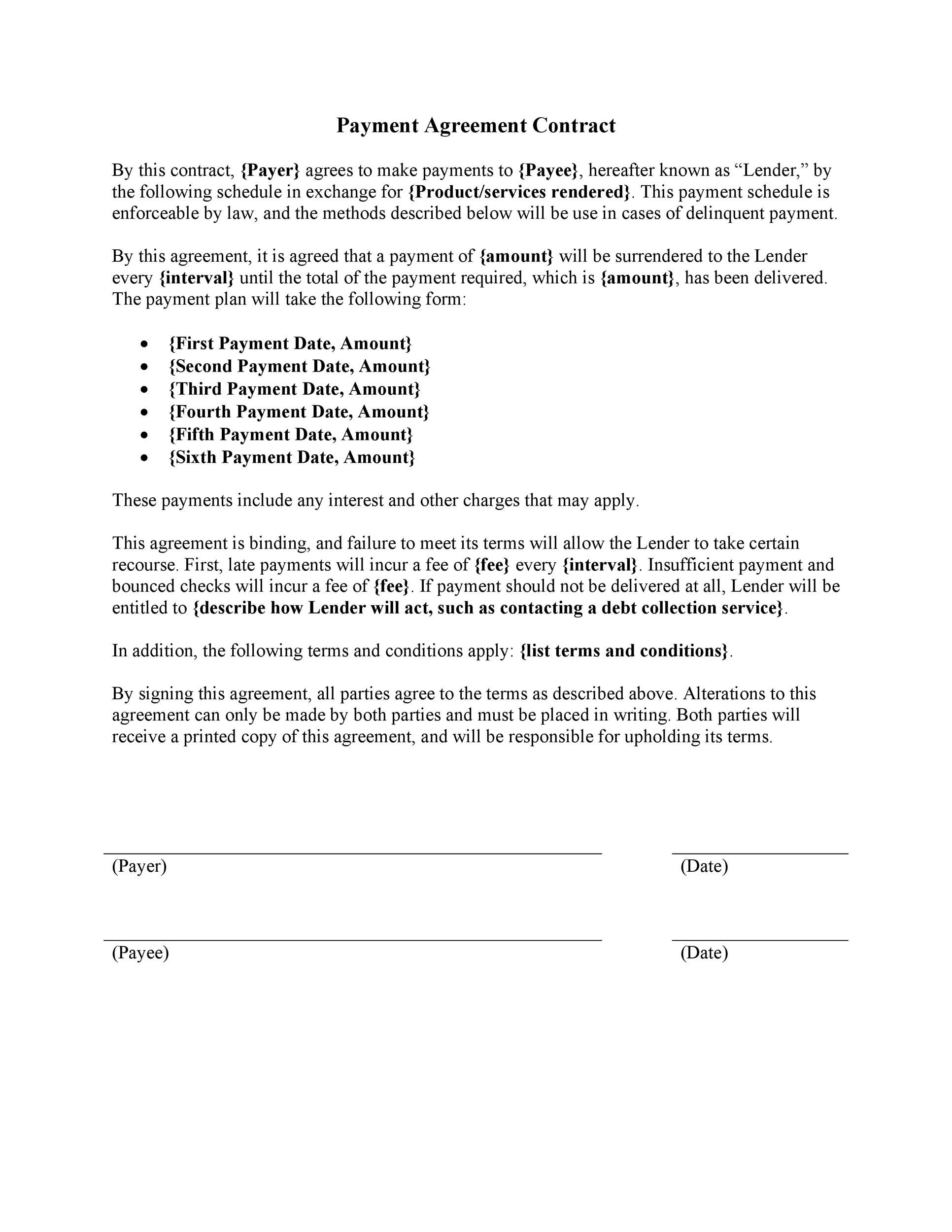Payment Agreement 40 Templates Contracts ᐅ Template Lab