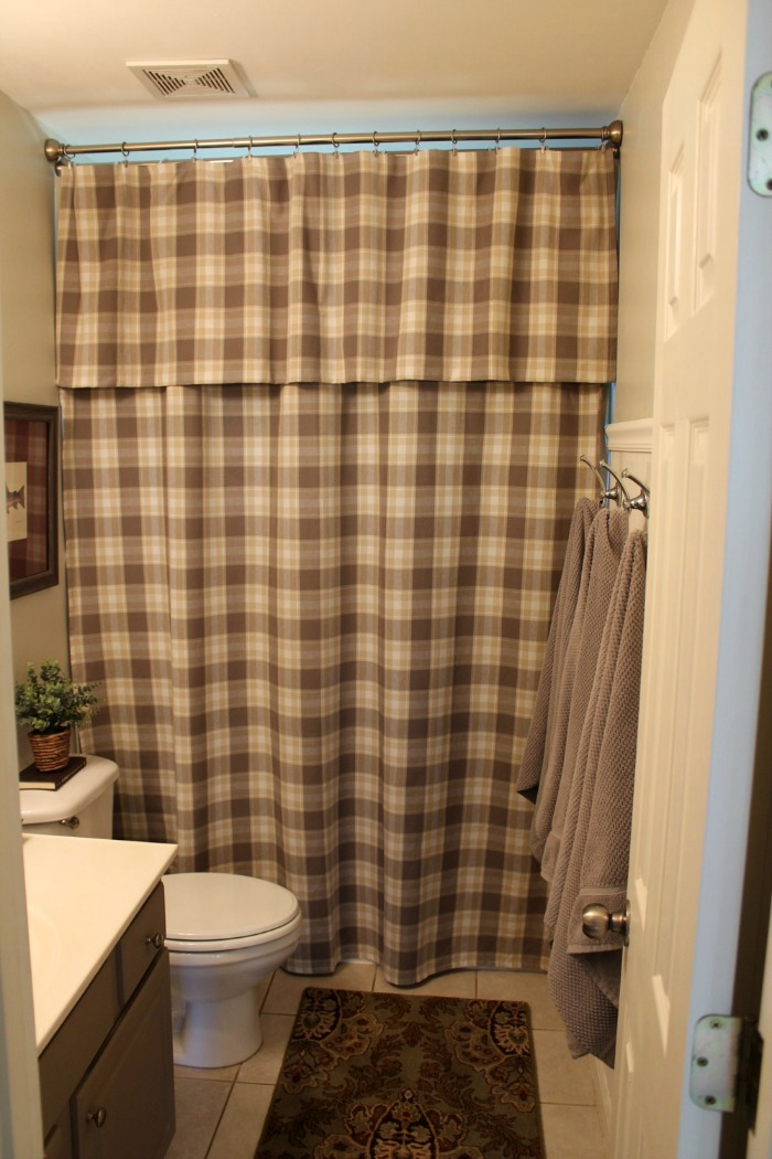 long shower curtain with valance