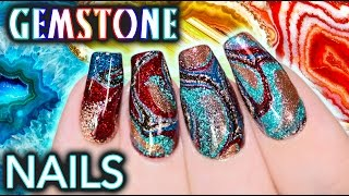 Download DIY Gemstone Nail Art - NO WATER WATERMARBLE! Video
