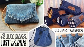 Download 3 MOST FASTEST DESIGN DIY PURSE BAG FROM OLD JEANS // Sweet Pouch You Can Easy Do Video