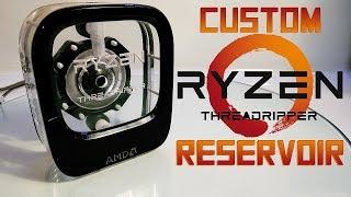 Download Custom water cooled reservoir in shape of AMD Ryzen Threadripper (box) Video
