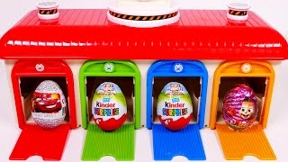Download Garage Playset for Kids!! Surprise Eggs and Bus Vehicles for Kids!! Learn Colors Video