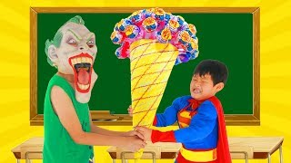 Download School colors Spiderman Fishing CANDY CREAM w/ Superman Paint Box Masha Brush your teeth Learn Color Video