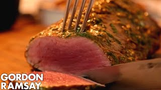 Download Rare Fillet of Beef with Salsa Verde & Truffled New Potatoes | Gordon Ramsay Video