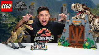 Download LEGO JURASSIC PARK: T. REX RAMPAGE!!! Biggest LEGO Dinosaur Set! Time Lapse & Stop Motion!! Video