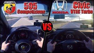 Download RACE: 2017 Abarth 595 vs Honda Civic VTEC Turbo (0-230km/h) POV- Acceleration, Top speed TEST✔ Video