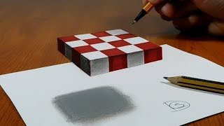 Download 3D Trick Art on Paper, Floating chess Video