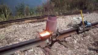Download Railroad thermite welding near the Mississippi river Video