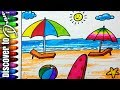 Download how to draw beach for kids scenery drawing for children | draw sunset at ocean discovertodraw Video