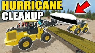 Download FARMING SIMULATOR 2017 | CLEANING UP BEACHED BOATS, ATV + FLIPPED MOBILE HOME FROM HURRICANE Video