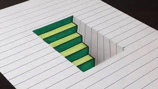 Download How to Draw 3D Steps in a Hole - Line Paper Trick Art Video
