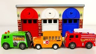 Download Fire Truck Garbage Truck and School Bus Vehicles with Car Garage Playset for Kids Video