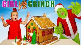 Download Girl vs Grinch Challenge! Will She Save Christmas? The Grinch in Real Life! Video