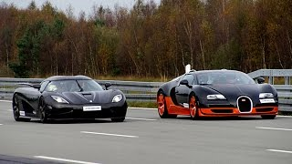 Download [4k] 50-350+ km/h RACE Bugatti Veyron Vitesse vs Koenigsegg Agera R Highspeed Oval Video