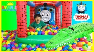 Download Thomas and Friends GIANT BALL PITS Egg Surprise Toys Hot Wheels Inflatable Toys Kids Video Video