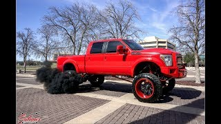Download 2011 F250 with Bigger turbos 14 inch lift 24x16 Fuel wheels and more! Video