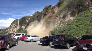 Download Man Captures Mountain Side Collapsing in Malibu Video