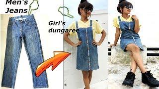 Download DIY: Convert/Reuse old Men's Jeans into girls DUNGAREE DRESS/ DUNGAREE SKIRT Video