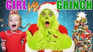 Download Girl vs Grinch Challenge! Will She Save Christmas? The Grinch in Real Life! Rematch! Video