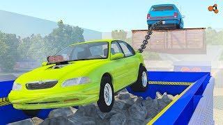 Download Beamng drive - Tug of War vs Car Shredder crashes (giant chain crashes) Video