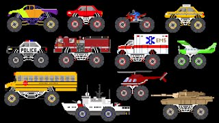 Download Monster Vehicles - Monster Truck, Monster Car & More - The Kids' Picture Show (Fun & Educational) Video