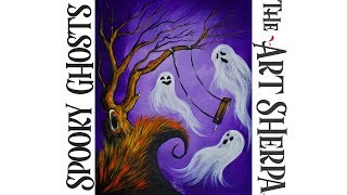 Download How to paint with Acrylic on canvas a EASY Spooky Ghost Video