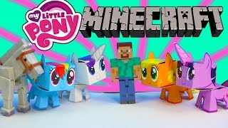 Download My Little Pony Boxos Paper Craft Style Minecraft Figures Steve Horse MLP Toy Unboxing Review Video