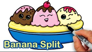 Download How to Draw a Yummy, Cute Banana Split Ice Cream Sundae Video