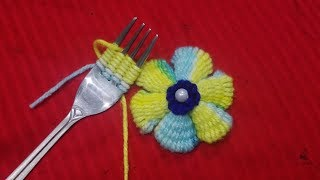 Download Hand Embroidery Amazing wool Flower Trick,With Spoon,Easy Flower Embroidery Trick#Sewing Hack part27 Video