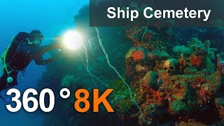 Download Ship Cemetery in Truk Lagoon in 360 format, Micronesia. 8K underwater video Video